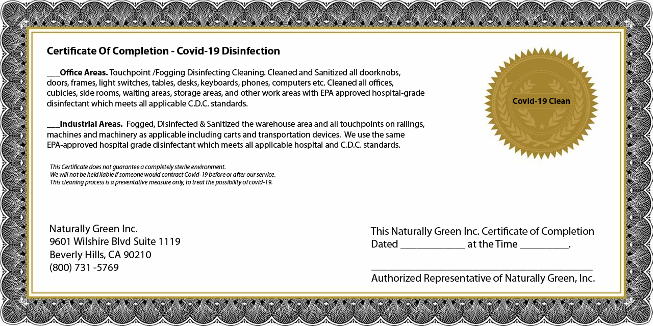 Naturally Green Covid-19 certificate